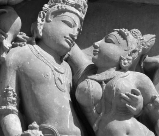 Bas-relief indien ; la rencontre amoureuse