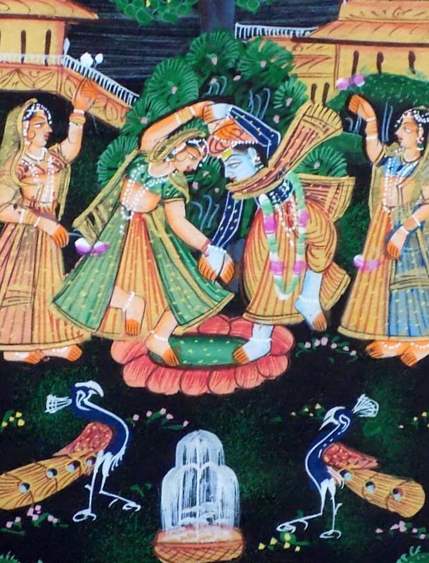 Miniature indienne, la danse d'amour